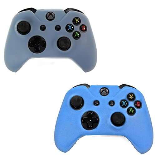 HDE-2-Pack-Protective-Silicone-Gel-Rubber-Grip-Skin-Cover-for-Xbox-One-Wireless-Gaming-Controllers-Blue-Sky-Blue