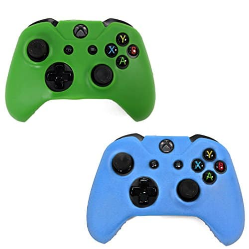 HDE-2-Pack-Protective-Silicone-Gel-Rubber-Grip-Skin-Cover-for-Xbox-One-Wireless-Gaming-Controllers-Blue-Green