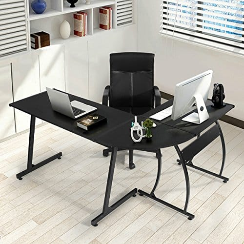 GreenForest-L-Shape-Corner-Computer-Desk-PC-Laptop-Table-Workstation-Home-Office-3-PieceBlack